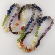 Multistone chakra chip nugget gemstone beads (ND) Approximate size range 5 x 5mm to 6 x 8mm 36 inch   CLOSEOUT