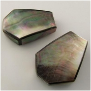2 Mother of Pearl shell coffin pendant beads Approximate size 25 x 35mm, 7.8 to 9.3mm thick Drilled end to end