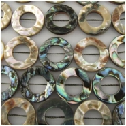 10 Abalone shell donut beads Approximately 20mm with 10mm hole center side drilled