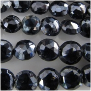 Spinel black faceted puff coin gemstone beads (N) Approximate size range 5 to 5.9mm 8.75 inch