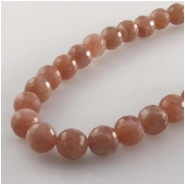 Moonstone peach faceted round gemstone beads (N) Approximate size 9mm  15.5 inch