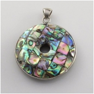 1 Abalone shell double sided mosaic sterling pendant bead (N) Approximate size 36mm