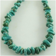 Turquoise Carico Lake small nugget gemstone beads (N) Approximate size 2.5 x 4mm to 3.5 x 5mm 18 inch