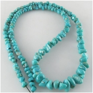Turquoise Campitos graduated nugget gemstone beads (S) Approximate size 3.8 x 4.3mm to 6.1 x 11.2mm 18 inch