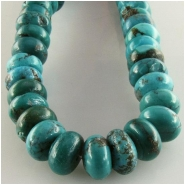 Turquoise Hubei rondelle gemstone beads (S) Approximate size 9.5 to 10mm 15.5 inch