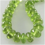 3 Peridot AAA faceted rondelle gemstone beads (N) Approximate size 5.4 to 6mm