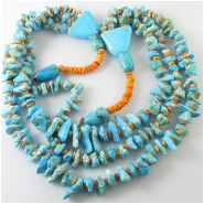 Turquoise Sleeping Beauty Kingman Campitos 3 strand necklace gemstone beads (NS) Approximate length 26 inches Click to see full description