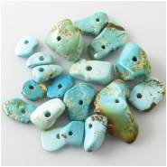 18 Turquoise Royston big hole nugget gemstone beads (N) Approximate size 8.4 x 9.3mm to 14.8 x 25.8mm