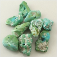 1 Turquoise Sleeping Beauty green blue nugget gemstone bead (N) Approximate size 10 x 16mm to 14 x 25mm