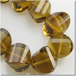 1 Cognac Quartz faceted onion gemstone bead (N) 9.3 to 9.8mm CLOSEOUT