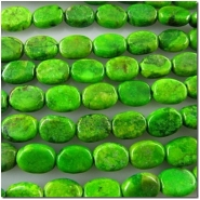 Turquoise Chinese yellow green oval gemstone beads (DS) 7.4 to 7.9mm CLOSEOUT