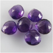 6 Amethyst faceted drop briolette gemstone beads (N) 6 to7mm CLOSEOUT