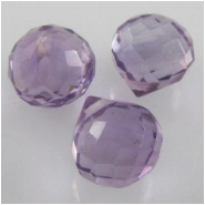 3 Amethyst faceted onion cut AA briolette gemstone beads (N) 5.1 to 5.9mm CLOSEOUT