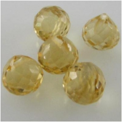 5 Citrine faceted onion cut briolette gemstone beads (H) 4.9 to 5.4mm CLOSEOUT