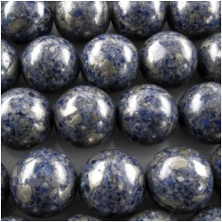 Lapis with pyrite round gemstone beads (N) 12 to 12.3mm CLOSEOUT
