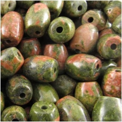 20 Unakite big hole barrel gemstone beads (N) 9 x 11mm CLOSEOUT  2mm hole