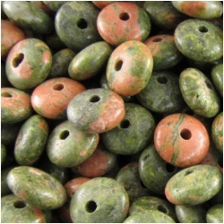 20 Unakite rondelle big hole gemstone beads (N) 10mm CLOSEOUT  2mm hole
