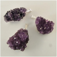 1 Amethyst  pendant gemstone bead (N) Approximate size range 23 x 27mm to 15 x 35mm Lead and nickel free metal