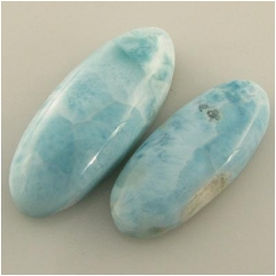 2 Larimar oval free form cabochon gemstones (N) 10.4 x 24.7mm and 11.8 x 28.9mm 4.4 and 6.3mm deep One set only
