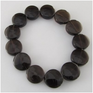 13 Smoky Quartz flat coin gemstone beads (H) Approximately 13 to 14mm Strung on elastic cord