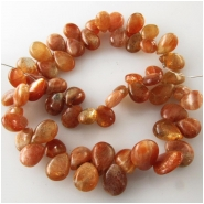 Sunstone pear drop briolette gemstone beads (N) Approximate size range 6 x 8mm to 7 x 10mm Top side drilled 8 inch