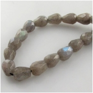 Labradorite faceted tear drop gemstone beads (N) Approximate size 7 x 9mm 15.5 inch