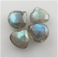 4 Labradorite faceted firey drop briolette gemstone beads (N) Approximate size range 7 x 7.3mm to 8.3 x 8.6mm
