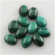 6 Malachite AA oval cabochon loose cut gemstones (N) Approximate size 5 x 7mm