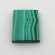 1 Malachite flat rectangle cabochon gemstone (N) Approximate size 14 x 20mm