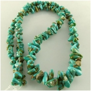 Turquoise Carico Lake graduated nugget chip gemstone beads (N) Approximate size 4.45 x 5mm to 7.5 x 12mm 18 inch
