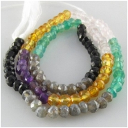 Multistone faceted puff rondelle gemstone beads (CDN) Approximate size 3.5 to 3.9mm 13 inch