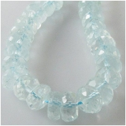 10 Blue Topaz faceted rondelle gemstone beads (H) Approximate size 6 to 6.9mm diameter