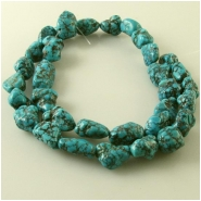 Turquoise Hubei old stock web nugget gemstone beads (N) Approximate size 9.5 x 10mm to 9 x 17mm 15.5 inch