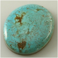 1 Turquoise Turquoise Mountain cabochon gemstone (N) Approximate size 24 x 29 x 6mm deep. Backed.