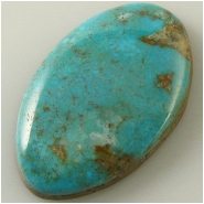 1 Turquoise Turquoise Mountain cabochon gemstone (N) Approximate size 23 x 37 x 7mm deep. Backed.