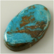 1 Turquoise Turquoise Mountain cabochon gemstone (N) Approximate size 20 x 33 x 5.2mm deep. Backed.