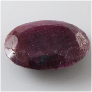 1 Ruby faceted oval cabochon gemstone (N) Approximate size 17 x 22.8 x 5.9mm deep. Faceted on both sides.