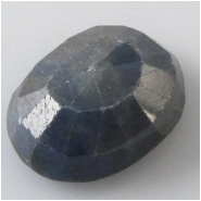 1 Sapphire blue faceted raised cabochon gemstone (N) Approximate size 14.7 x 18.8 x 7.7mm deep