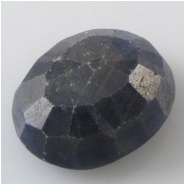 1 Sapphire blue faceted raised cabochon gemstone (N) Approximate size 13.7 x 16.7 x 7.8mm deep