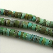 Turquoise Maan Shaan heishi gemstone beads (S) Approximate size 7.5 to 8.6mm diameter 15 inch #9