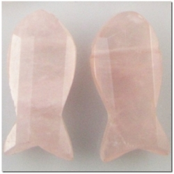 1 Rose Quartz faceted briolette fish fetish pendant gemstone bead (D) 20mm CLOSEOUT