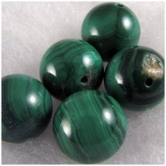 1 Malachite round bead gemstone bead (N) 14mm CLOSEOUT