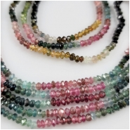 Tourmaline Hand Carved Faceted Rondelle Saucer Gemstone Beads (N) Approximate Size 3 to 3.5mm 15.75 inches