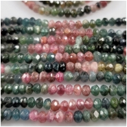 Tourmaline Hand Carved Faceted Rondelle Gemstone Beads (N) Approximate Size 4.2 to 5.3mm 15.5 inches