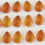 2 Amber drop cabochon loose cut gemstones (N,H) Approximate size 9 x 13mm