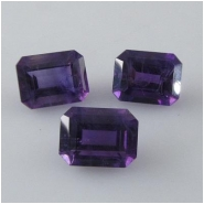 2 Amethyst dark faceted octagon cut loose gemstones (N) Approximate size  x 7mm