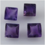 2 Amethyst faceted square loose cut gemstones (N) Approximate size 6mm