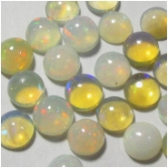 4 Ethiopian opal AAA round cabochon loose cut gemstones (N) Approximate size 3mm x 1.9 to 2.5mm deep