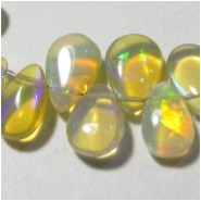 1 Ethiopian opal yellow pear drop briolette gemstone bead (N) Approximate size range 5.4 x 8mm to 6.4 x 9.3mm Top side drilled
