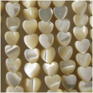 Mother of Pearl heart shell beads (N) Approximate size range 3.9 x 4.3mm to 4.8 x 4.9mm 16 inch
